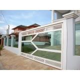 valor de portão de alumínio branco com vidro Vila Gumercindo